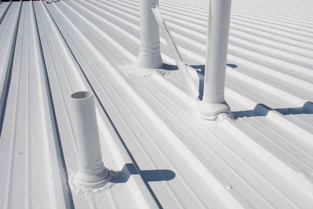 white fabric reinforced commercial roofing